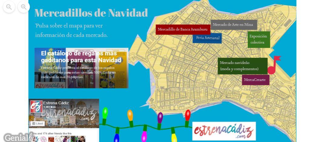Mapa interactivo de los mercados navideños de Cádiz